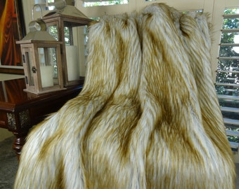 Blonde Faux Fur Throw Blanket & Bedspread - Blonde Fox Fur 5' x 6' - Light and Dark Brown Ivory Fox Faux Fur - Throw/Bedspread - SKU 16404