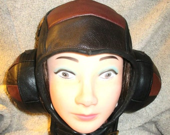 Aviator Helmet Hat, Brown Leather Steampunk Spaceman, Domed Earcups w/ Pockets for Headphones