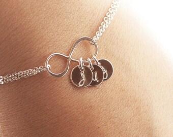 Personalized Infinity Bracelet, Infinity Initial Bracelet, Sterling Silver Initial Bracelet, Mother's Bracelet, Bridesmaids Gift, Dainty