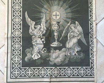 Church Angels Rustic Grey Mushroom Monochrome Print Graphpaper Original 19th Century Textile Design Sewing Pattern For Art Display Interior