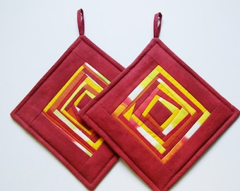 Red Yellow Potholders Fabric Pot Holders Quilted Pot Holders Quilted Potholders  Patchwork Potholders Set of 2