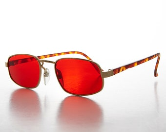 Small Rectangular Frames / Color Tinted Lens / Vintage Sunglass- Jerry