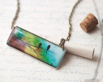 Two birds necklace, Mothers day gift, Ombre jewelry, Green necklace, Two bird jewelry, Ombre pendant, Werable art, Art necklace Bird pendant