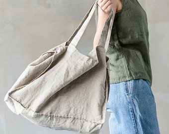 Large linen tote bag / linen beach bag / linen shopping bag in natural