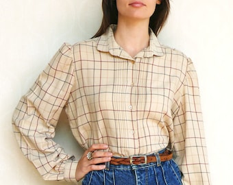 "Vintage checkered shirt, small medium - beige red and grey . . . . . . ""Like"" our fb page for 10% discount"