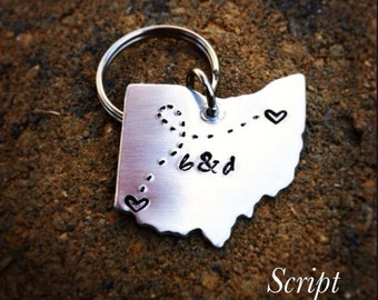 Long Distance Relationship Keychain - State Keychain - OHIO State Keychain, OH_#STATEm
