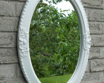 White color wall oval mirror.   vanity mirror, nursery mirror, bathroom mirror, framed mirror,shabby chic