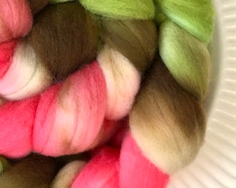 4oz. Hand Painted Superwash Merino Roving