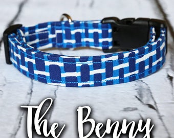 "Dog Collar- Boy Dog Collar, Dog Collar For Boys, Buckle Dog Collar, Modern Dog Collar, Blue Dog Collar, Hipster Dog Collar, ""The Benny"""