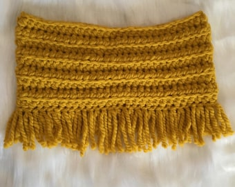 Sunshine: Crochet Fringe Infinity Scarf