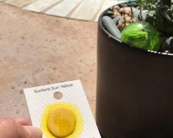 Dot Card Handmade Watercolor Paint Sunbird Sun Yellow