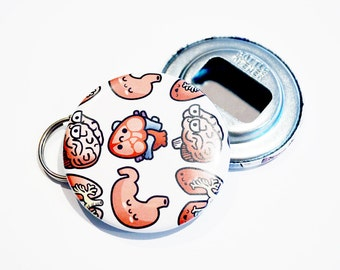 Anatomy Bottle Opener Keychain, Biology Gift, Science Gift, Anatomy Keychain, Novelty Gift, Medical Student, Nurse Gift, Doctor Gift