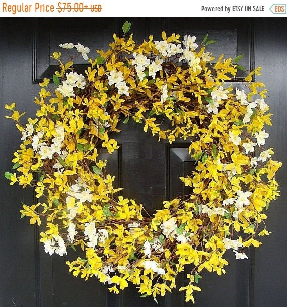 SUMMER WREATH SALE Cherry Blossom and Forsythia Wreath- Yellow Wreath- Spring Decor- Summer Wreath