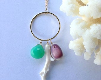 Natural Coral, Semi Precious Gemstones and Hawaiian Cowrie Shell 14kt Gold Filled Long Necklace