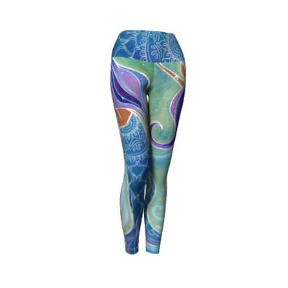 Mandala Mermaid Yoga Pants Leggings, Mermaid Yoga Pants by Lauren Tannehill Art