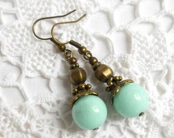 bohemian gypsy earrings green jade earrings gemstone earrings beaded dangle earrings bronze earrings bohemian earrings boho earrings