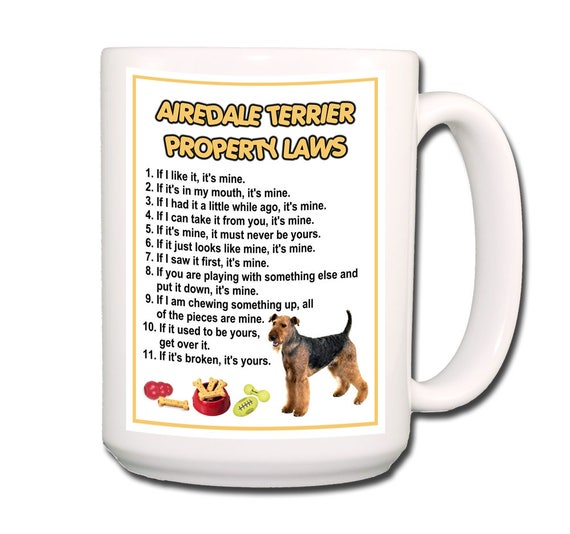 Airedale Terrier Property Laws Extra Large 15 oz Coffee Mug