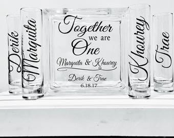 Family Blended Unity Sand Ceremony Glass Containers - Glass Block with Together we are One - Personalized  Names on Side vessels