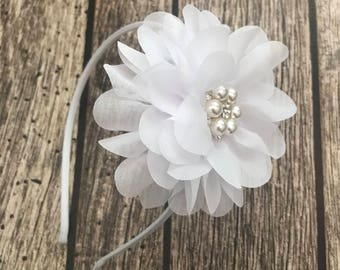 White headband, flower girl headband, flower girl, wedding headband, hard headband, child headband