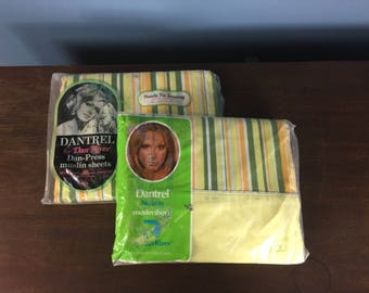 Vintage 1960's NIP/New in Package Dantrel Twin Flat and Fitted Sheets