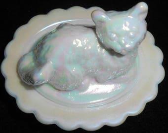 White Milk Carnival Glass Salt Cellar Cat Kitten On Basket Dish Mosser