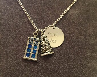 Don't blink inspired necklace, Tardis inspired jewellery ,  Sci-Fi pendant necklace, item 414 by CraftyLittleMonkeyGB