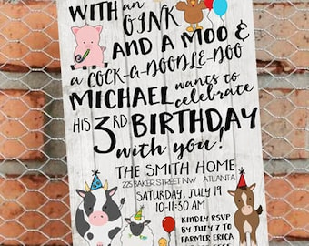 Farm Birthday Invitation - Farm Birthday Party - Tractor Birthday - Farm invite - Tractor Invitation - Customize - Printable - 5x7