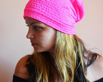 SLOUCHY BEANIE in Neon Pink Festival Slouchy BEANIE in Neon Pink Slouchy Hat Slouchy Festival Hats Slouchy Beanie Hats Jersey Beanie Hat