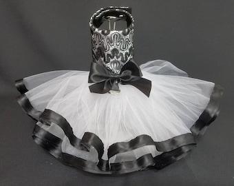 Dog Dress. Black and White Dog Dress, Dog Harness Tutu Dog Dress. Dog Harness Dress, Designer Dog Dress.