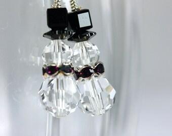 Swarovski Crystal Snowman earrings with purple scarf, Snowmen earrings, Clear snowmen, Sterling Silver Earrings .925