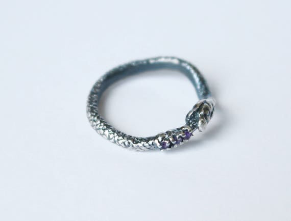 Silver Ourobors Ring set with 3 Gemstones in Tail