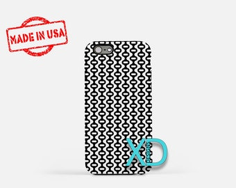 Squiggly Phone Case, Squiggly iPhone Case, Wavy iPhone 7 Case, Black, White, Wavy iPhone 8 Case, Squiggly Tough Case, Clear Case, Retro