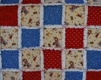 Baby Rag Quilt, Rodeo!  Handmade Red and Blue blanket, baby shower gift, girl blanket, boy blanket, gender neutral blanket, crib, nursery