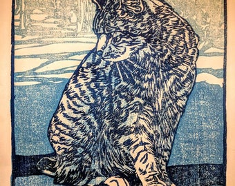 "Blue Cat, hand carved woodblock print, 8""X10"""
