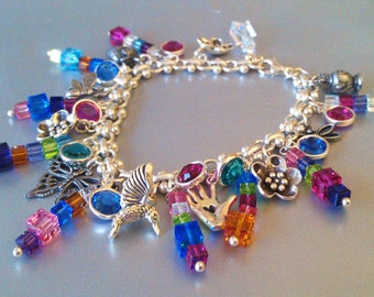 Secret Garden Sterling Silver  Swarovski Crystal Charm Bracelet