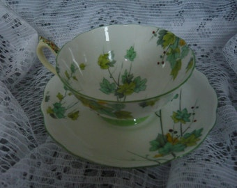 Vintage Royal   PARAGON L'AUTOMNE Hand Painted Cup and Saucer Circa 1930-1933