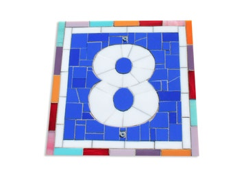 Custom Outdoor Modern House Number Plaque in Mosaic Stained Glass