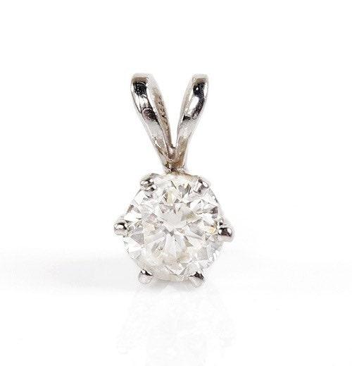Zirconia Pendant-White gold Gold Pendant -Women Jewelry-Anniversary gift-Girls pendant-Zircon Statement -Thanksgiving present-Holidays gift
