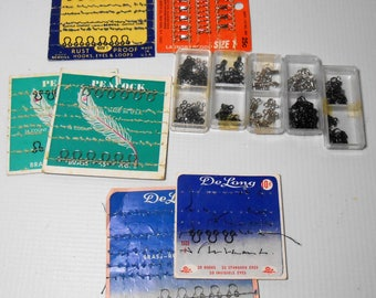 Vintage Sewing Supplies, Hooks, Eyes, Loops, Mixed, Sewing Notions, 1940's - 1950's
