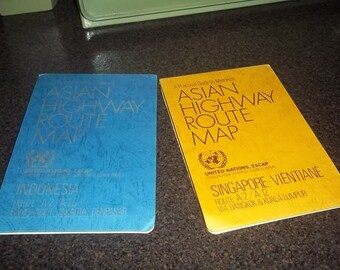 National Geographic Asian Highway Route Map sets with heavy plastic-type paper 1976