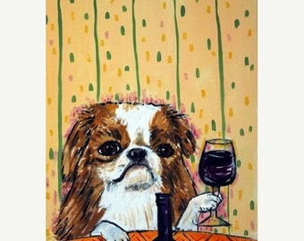 25% off Japanese Chin at the Wine Bar Dog Art Print