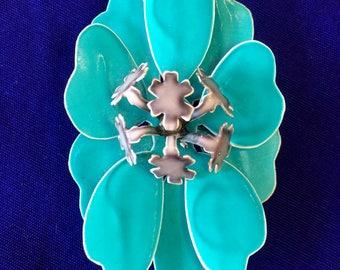 Vintage Enamel on Metal Teal Flower Brooch, 1960's-1970's Costume Jewelry, Flower Power Pin