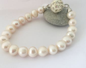 Pearl Bracelet and Earrings SET,  Freshwater Pearl Bridal Bracelet, Bridesmaid Gifts Jewellery