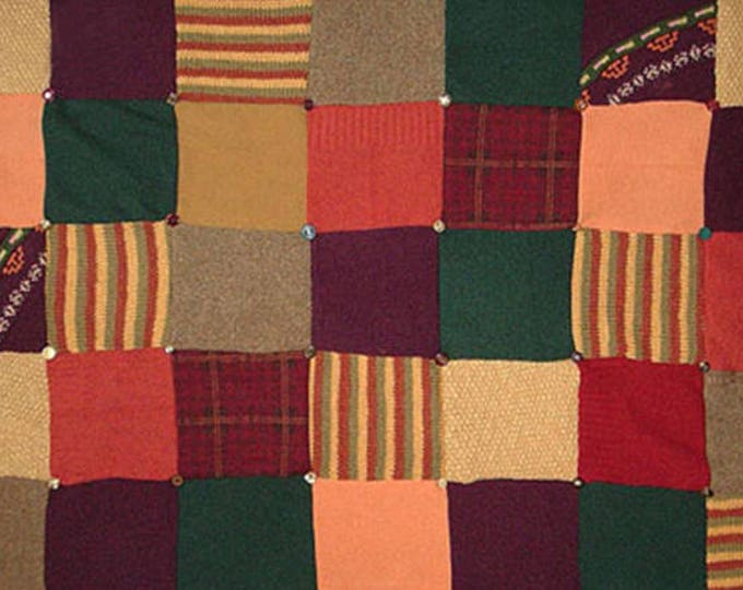 """My """"Spanish Village"""" Wool Sweater Quilt — I can make one similar for you!"""