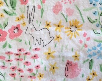 Minky Blanket Blanket Sweet Garden Pink Bunnies Doves White Gold Stars  Baby Nursery Stroller Shower gift Sarah Jane Minky