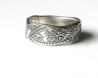 Rustic Paisley Fine Silver Ring - Made to Order
