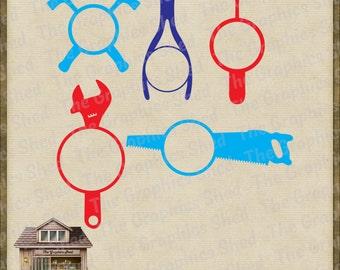 Men's Tools Monogram Frames Cut Files *svg dxf png eps & pdf* Stickers Shirts Vinyl HTV