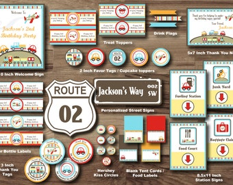 PLANES TRAINS and AUTOMOBILE Party Package - Transportation Party Package - Printable Party Package- Car Truck PlaneTrain