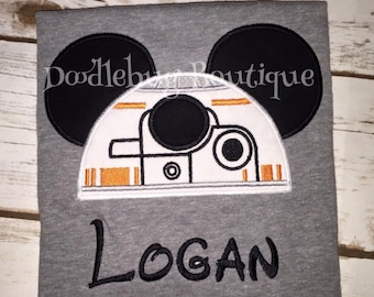 Personalized BB8 Mickey shirt with name
