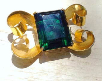 Coro Sterling Brooch Emerald Green Signed Brooch Fashion Designer Jewelry